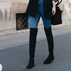 NINE WEST black suede leather over the knee boots